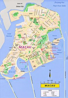 Map of Macau for the short trip over from Hong Kong Macao, Macau Travel, China Travel, Business Trip Packing, Business Travel, Beijing, Places To Travel, Places To Go, China Map