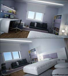 Here is a modern, young person's room, decorated with a touch of color and a modern workspace.