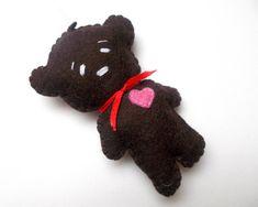 Felt bear ornament - felt ornaments - teddy bears - Christmas/Housewarming home decor - hand embroidered