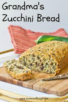 Grandma's Zucchini Bread {Tastes of Lizzy T}  My Grandma's best zucchini bread! http://www.tastesoflizzyt.com/2013/07/18/grandmas-zucchini-bread/