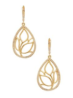 Pave Diamond Leaf Teardrop Earrings by Carelle at Gilt