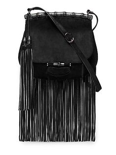 Gucci Nouveau Suede Fringe Shoulder Bag