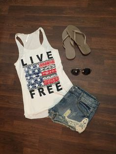 Looking for a cute 4th of July Outfit?? Our Live Free Tank is perfect!! Tank $24. Denim Shorts with Lace $32 www.sevenandcoboutique.com