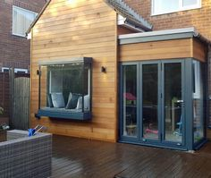 Fabulous floating oriel window seat supplied and installed. All glass corners. Please contact us for more information. House Extension Plans, House Extension Design, Glass Extension, Extension Designs, House Design, Extension Ideas, Garden Room Extensions, House Extensions, Sas Entree