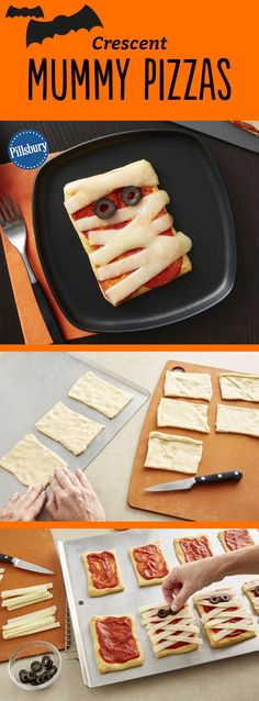 Kids will go crazy for these adorable mummy pizzas Made easy with crescent dough kids will love to help assemble them for dinner or serve them at your next Halloween party Want extra flavor Add chopped Canadian bacon or pepperoni before adding the cheese Halloween Desserts, Halloween Pizza, Hallowen Food, Fete Halloween, Halloween Goodies, Halloween Dinner, Halloween Food For Party, Halloween Kids, Halloween Treats
