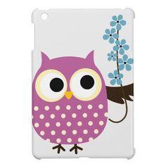 Folk Art Owl, Beautiful with Flowers Case For The iPad Mini