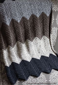 Chevron Crochet Blanket Pattern from Rescued Paw Designs