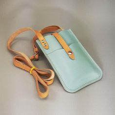 Items similar to Leather iPhone 6 PLUS Crossbody Wallet, Periwinkle Blue w Natural Straps 2 Card Pockets on Etsy Leather Purses, Leather Handbags, Pochette Portable, Couture Cuir, Leather Wallet Pattern, Iphone 6, Passport Wallet, Crossbody Wallet, Hip Bag