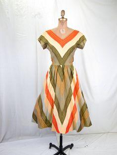 1950's Cotton Stripe Day Dress Portrait Neckline by tovasvintage, $125.00