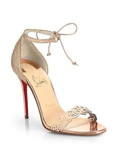 CHRISTIAN LOUBOUTIN Valnina Cutout Leather And Glitter Sandals
