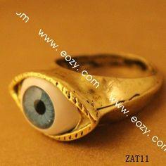 Vintage Retro Gothic Punk Rock Alloy Knuckle Unisex Rings Bronze Blue Eye