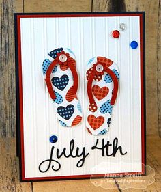 Flip Flop 4th Card by Jeanne Streiff   TE Flip Flop Garland, Pockets & Pages July Script Dies, Bead Board EF http://www.tayloredexpressionsgallery.com/gallery2/main.php?g2_itemId=86006