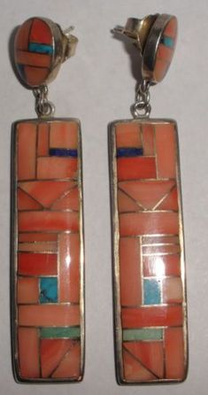 Large-2-5-034-Vintage-Sterling-Silver-Zuni-Zora-Joe-inlay-coral-turquoise-earrings #SterlingSilverEarrings