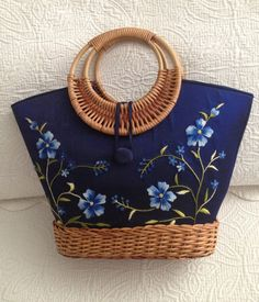 Wicker and Embroidery Tote in Royal Blues by BarbeeVintage on Etsy, $22.00