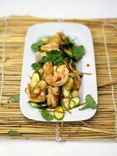 Stir-fried warm salad of prawns and baby courgettes Jamie Oliver Jamie's Kitchen