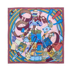Hermes Vintage Illustrative Print Scarf | From a collection of rare vintage scarves at http://www.1stdibs.com/fashion/accessories/scarves/