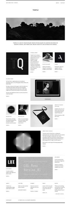 Nice portfolio of Temple, a design studio based in London | #interactive #portfolio #monochrome | www.madebytemple.com