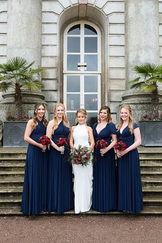Gorgeous Navy blue bridesmaids red wedding flowers at this Moor Park Wedding - Fiona Kelly Photography flowers navy Navy Red Wedding, Blue Orchid Wedding, Red And White Weddings, Red Wedding Flowers, Wedding Colors, Wedding Ideas, Navy Blue Bridesmaid Dresses, Red Bridesmaids, Blue Wedding Dresses
