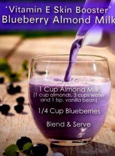 Health: Vitamin E skin boosting blueberry almond milk smoothie recipe. Healthy Juice Recipes, Healthy Juices, Healthy Smoothies, Healthy Drinks, Healthy Eating, Healthy Skin, Juicer Recipes, Milk Smoothies, Healthy Life