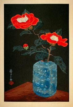 'Camellias in a Vase.' Painting by Yoshijiro Urushibara Art Floral, Photografy Art, Art Occidental, Art Chinois, Art Asiatique, Art Japonais, Japanese Painting, Japanese Prints, Japan Art