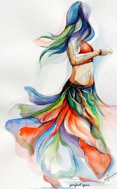 belly dancer watercolor rendition by Segismundo Dance Paintings, Indian Art Paintings, Bd Art, Tribal Belly Dance, Tribal Fusion, Jolie Photo, Belly Dancers, Dance Art, Dance Photography