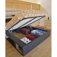 41 Mind Blowing Hidden Storage Ideas Making a Clever Use of .- 41 Mind Blowing Hidden Storage Ideas Making a Clever Use of Your Household Space! – Cute DIY Projects 41 Mind Blowing Hidden Storage Ideas Making a Clever Use of Your Household Space! Rv Storage Solutions, Storage Hacks, Organizing Solutions, Under Bed Storage, Hidden Storage, Extra Storage, Beds With Storage, Lift Storage Bed, Secret Storage