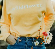 Wildflower sweater, yellow crewneck. 29.99 #shoppingsweater #wildflower #floral #flowers #style #ootd #fashion
