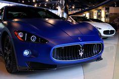 Matte blue Maserati Gran Turismo S Ferrari, Maserati Gt, Lamborghini Cars, Lamborghini Gallardo, Audi, Porsche, Maserati Granturismo, Bugatti, Rolls Royce