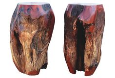 Red Clem Wood Pedestals, Set of 2 - reclaimed tropical hardwood - Asian Art Imports