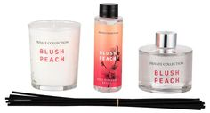 A sensual summer fragrance with honey-sweet peach notes and stimulating blossoms of jasmine and osmanthus, beautifully rounded off with musky aromas to free the mind. 1 x Blush Peach Diffuser 1 x Blush Peach Diffuser Refill 1 x P Peach Rooms, Vanilla Orchid, Oil Burners, Sweet Peach, Wooden Tops, Fragrance Oil, Blush, Gifts, Rouge