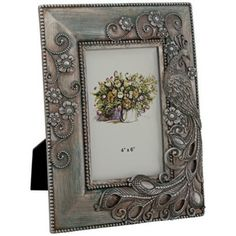 Delilah Blue and Silver Peacock 4x6 Photo Frame -