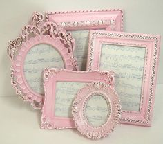 Picture Frames Shabby Chic Picture Frame Set Ornate Frames Pink Wedding Decor