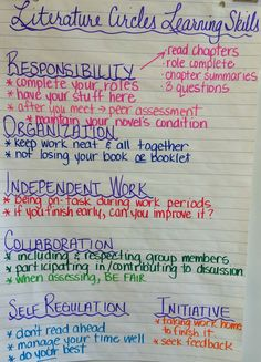 Fieldcrest - Grade Eight Literature Circles Learning Skills This says grade, but I use the same ideas in grade literature circles! 8th Grade Ela, 6th Grade Reading, Middle School Reading, Fourth Grade, Skills To Learn, Learning Skills, Literacy Circles, Teaching Reading, Guided Reading