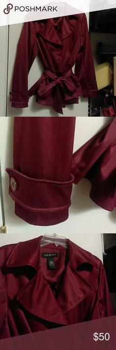 Amazing shimmery cranberry trench blazer Warm, dressy , classic timeless style for sheath dresses, slacks , jeans, pencil skirts Lane Bryant Jackets & Coats Blazers