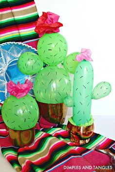 Mexican Dinner Tablescape with Cactus Balloon Centerpiece Dimples and Tangles # Mexican Birthday Parties, Mexican Fiesta Party, Fiesta Theme Party, Birthday Party Ideas, Mexican Dinner Party, Mexican Night, Taco Party, Cactus Centerpiece, Balloon Centerpieces