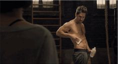 """Marvel hero abs shot. Jesuuuuuus.  Also, it looks like Hope is the one who finds the wounded abs of Scott Lang, ""Oh hello, this is how I normally stand with my abs.""// Dissection Of All The Tiny Clues In The Ant-Man Trailer"