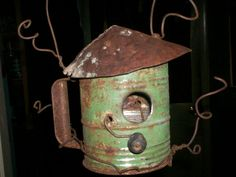 Old sifter turned birdhouse...love this!