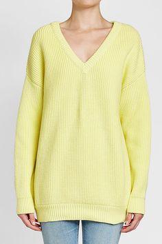 BALENCIAGA - Ribbed Cotton Pullover | STYLEBOP Yellow Fashion, Pullover, Yellow Style, Sweaters, Cotton, Shopping, Balenciaga, Women, Clothing