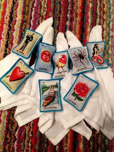 Items similar to Loteria Card Napkin Ring Holders - Set of 8 on Etsy Loteria Cards, Ring Holders, Mexican Crafts, Quinceanera, Sweet 16, Napkin Rings, Party Ideas, Diy Crafts, Crafty