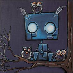 Painting/print 'Robot Howie' - cute little robot spending the evening with a bunch of owls. Made by Danish Artist Mette Pødenphant Andersen - www.cannotcompute.dk