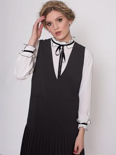 Dahlia Mei Black Pinafore Dress with Deep V Neck and Pleated Skirt