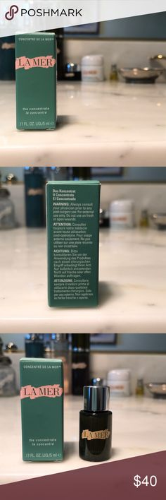 La Mer the Concentrate .17 fl oz/ 5ml sample size. This product retails at $470 for 1.7 oz. so this sample of .17 oz is valued at $47 based upon the size and retail price of the full product. La Mer Other