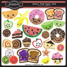 Kawaii Food SUPER PACK for scrapbooking, labels, tags, stickers, paper crafts, banners, avatars, blogs and more via Etsy
