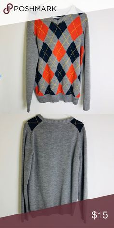6e37b5027bd Men s Sweater Argyle Large 100% acrylic Fits big   Tall blue notes denim  company Sweaters