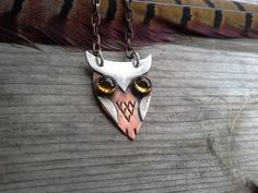 Unique owl necklace, rustic jewelry, mixed metal jewellery £45.00