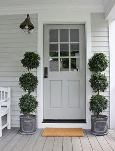 上半分にガラス窓があるタイプのグレーのドアです。やっぱりここでも、グリーンがシンメトリーに配置されています。トピアリー仕立てになった植木も憧れの一つです。