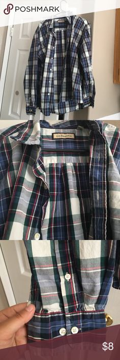 Men's Button Up Blue and red plaid Shirts Casual Button Down Shirts