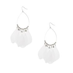 Silver Drop Earrings with Feather