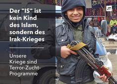 Liebe Freunde, Bundeskanzlerin Merkel hat am Freitag die 'muslimische Geistlichkeit' aufgefordert, endlich das Verhältnis des Islam zur Gewalt zu klären. Aber müsste nicht zuerst der christliche Westen sein Verhältnis zur Gewalt überprüfen? Nicht der Islam ist das Problem, unsere Kriege sind das Problem. Sie sind Terrorzucht-Programme, nicht der Islam.