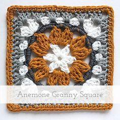 Anemone crochet granny square